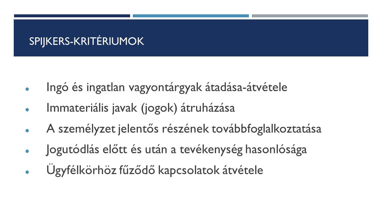 SPIJKERS-KRITÉRIUMOK Ingó és ingatlan vagyontárgyak átadása-átvétele Immateriális javak (jogok) átruházása A személyzet jelentős részének továbbfoglal