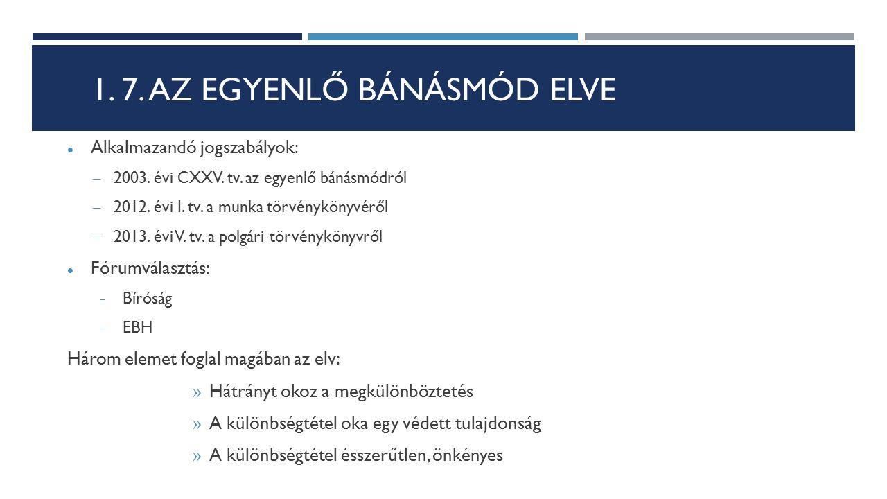 1. 7. AZ EGYENLŐ BÁNÁSMÓD ELVE Alkalmazandó jogszabályok: – 2003. évi CXXV. tv. az egyenlő bánásmódról – 2012. évi I. tv. a munka törvénykönyvéről – 2