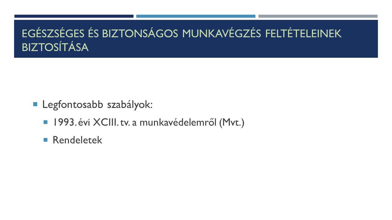 EGÉSZSÉGES ÉS BIZTONSÁGOS MUNKAVÉGZÉS FELTÉTELEINEK BIZTOSÍTÁSA  Legfontosabb szabályok:  1993. évi XCIII. tv. a munkavédelemről (Mvt.)  Rendeletek