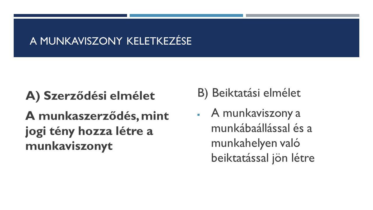 A MUNKAVISZONY KELETKEZÉSE A) Szerződési elmélet A munkaszerződés, mint jogi tény hozza létre a munkaviszonyt B) Beiktatási elmélet  A munkaviszony a
