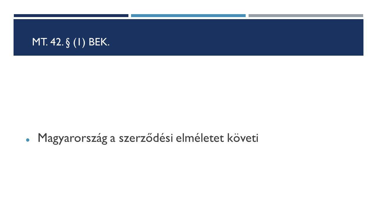 MT. 42. § (1) BEK. Magyarország a szerződési elméletet követi