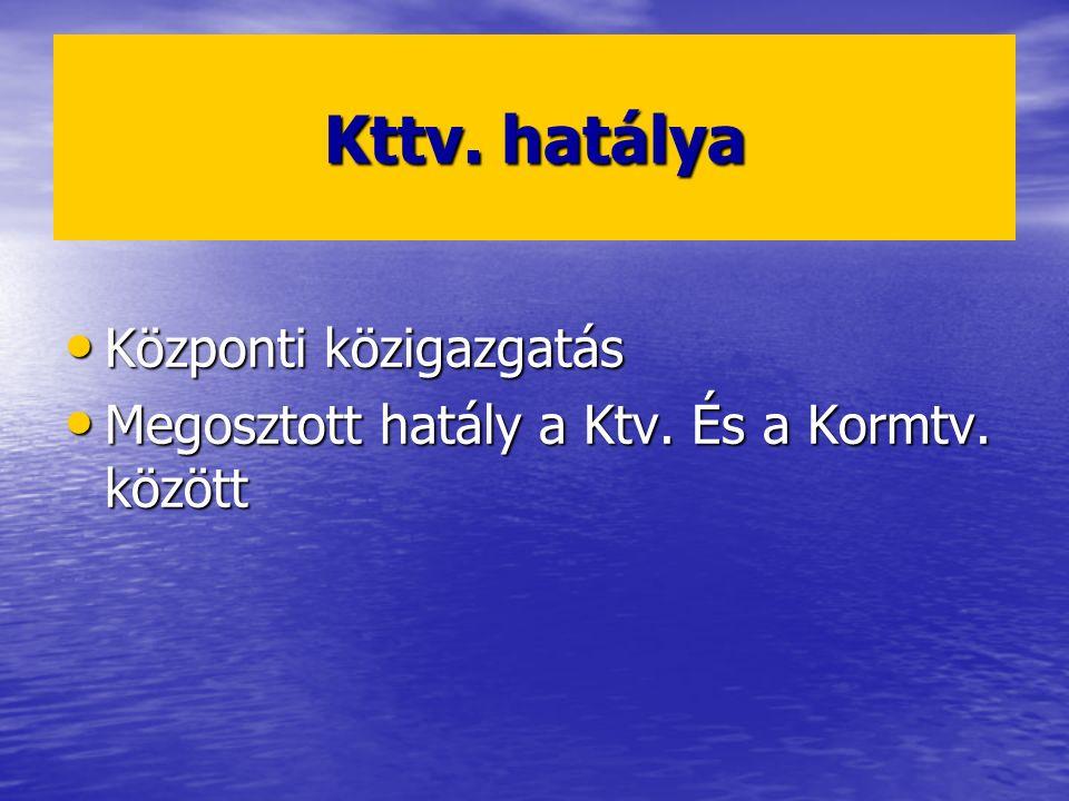 Kttv. hatálya Központi közigazgatás Központi közigazgatás Megosztott hatály a Ktv. És a Kormtv. között Megosztott hatály a Ktv. És a Kormtv. között