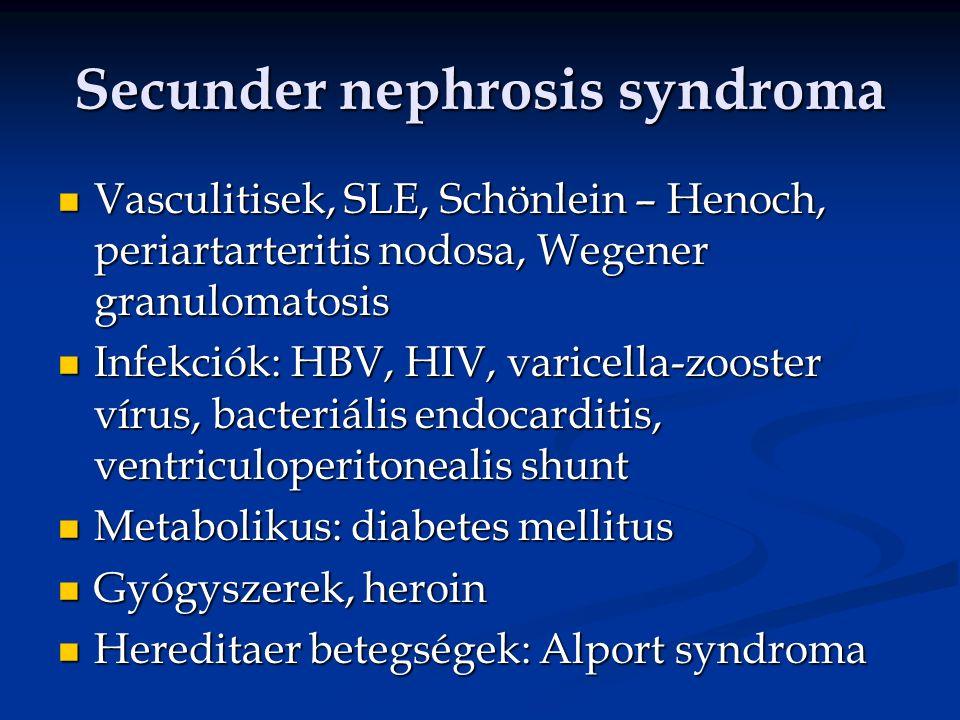 Secunder nephrosis syndroma Vasculitisek, SLE, Schönlein – Henoch, periartarteritis nodosa, Wegener granulomatosis Vasculitisek, SLE, Schönlein – Henoch, periartarteritis nodosa, Wegener granulomatosis Infekciók: HBV, HIV, varicella-zooster vírus, bacteriális endocarditis, ventriculoperitonealis shunt Infekciók: HBV, HIV, varicella-zooster vírus, bacteriális endocarditis, ventriculoperitonealis shunt Metabolikus: diabetes mellitus Metabolikus: diabetes mellitus Gyógyszerek, heroin Gyógyszerek, heroin Hereditaer betegségek: Alport syndroma Hereditaer betegségek: Alport syndroma