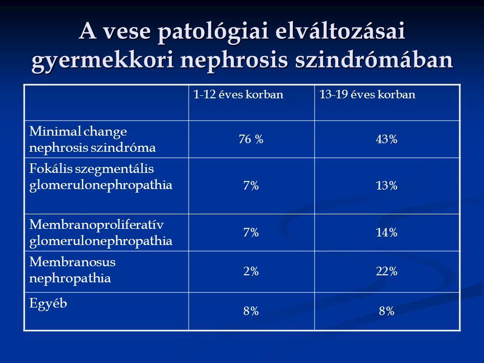 A vese patológiai elváltozásai gyermekkori nephrosis szindrómában 1-12 éves korban13-19 éves korban Minimal change nephrosis szindróma 76 %43% Fokális szegmentális glomerulonephropathia 7%13% Membranoproliferatív glomerulonephropathia 7%14% Membranosus nephropathia 2%22% Egyéb 8%