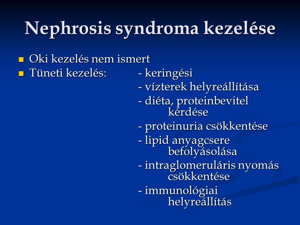 Nephrosis syndroma kezelése Oki kezelés nem ismert Oki kezelés nem ismert Tüneti kezelés:- keringési Tüneti kezelés:- keringési - vízterek helyreállítása - diéta, proteinbevitel kérdése - proteinuria csökkentése - lipid anyagcsere befolyásolása - intraglomeruláris nyomás csökkentése - immunológiai helyreállítás
