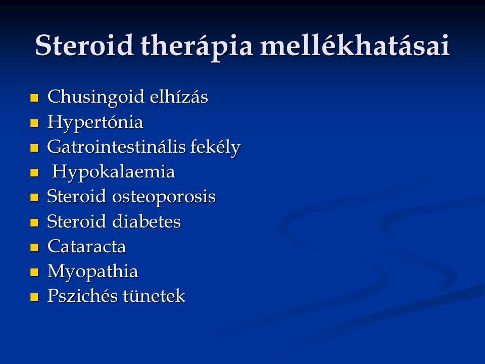 Steroid therápia mellékhatásai Chusingoid elhízás Chusingoid elhízás Hypertónia Hypertónia Gatrointestinális fekély Gatrointestinális fekély Hypokalae