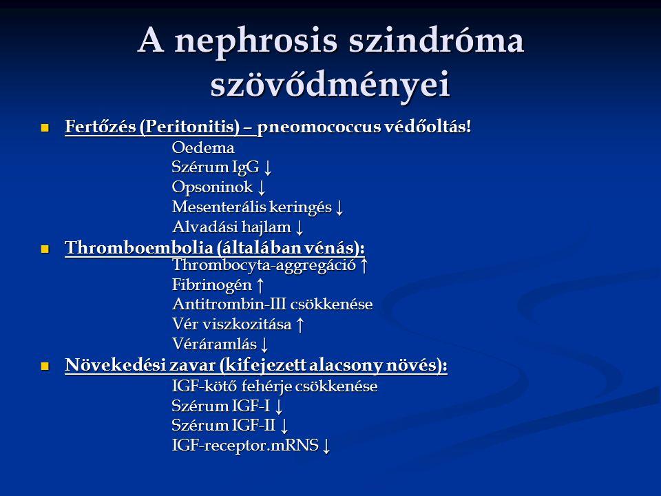 A nephrosis szindróma szövődményei Fertőzés (Peritonitis) – pneomococcus védőoltás! Fertőzés (Peritonitis) – pneomococcus védőoltás!Oedema Szérum IgG