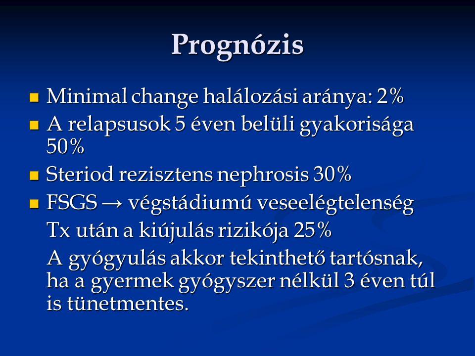 Prognózis Minimal change halálozási aránya: 2% Minimal change halálozási aránya: 2% A relapsusok 5 éven belüli gyakorisága 50% A relapsusok 5 éven belüli gyakorisága 50% Steriod rezisztens nephrosis 30% Steriod rezisztens nephrosis 30% FSGS → végstádiumú veseelégtelenség FSGS → végstádiumú veseelégtelenség Tx után a kiújulás rizikója 25% A gyógyulás akkor tekinthető tartósnak, ha a gyermek gyógyszer nélkül 3 éven túl is tünetmentes.