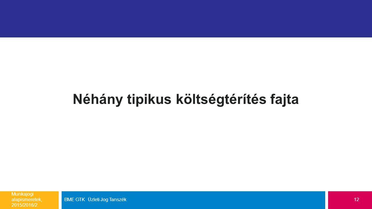 Néhány tipikus költségtérítés fajta Munkajogi alapismeretek, 2015/2016/2.