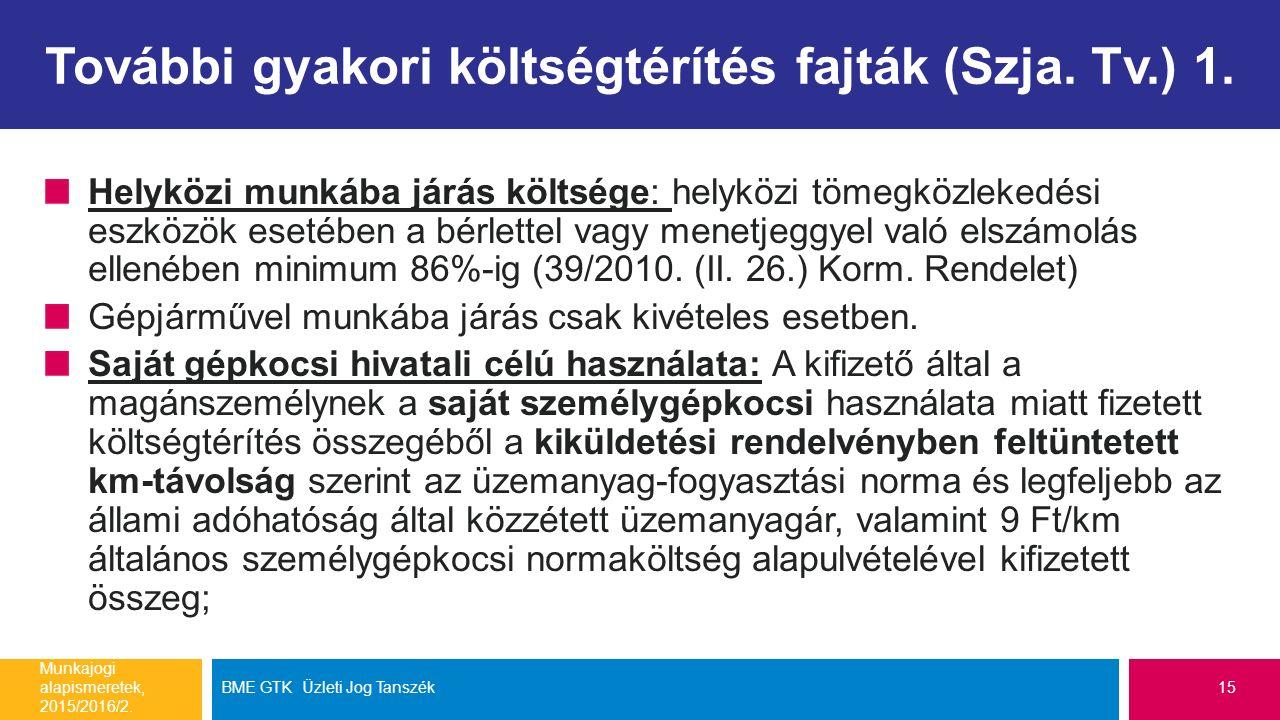 További gyakori költségtérítés fajták (Szja. Tv.) 1.