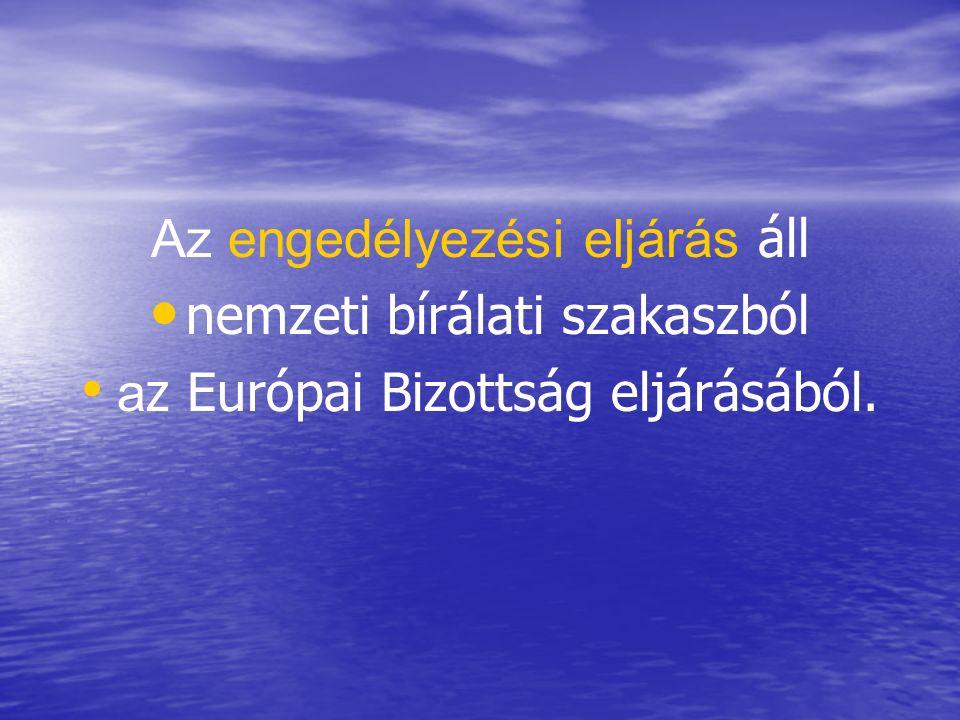 Az engedélyezési eljárás áll nemzeti bírálati szakaszból a z Európai Bizottság eljárásából.