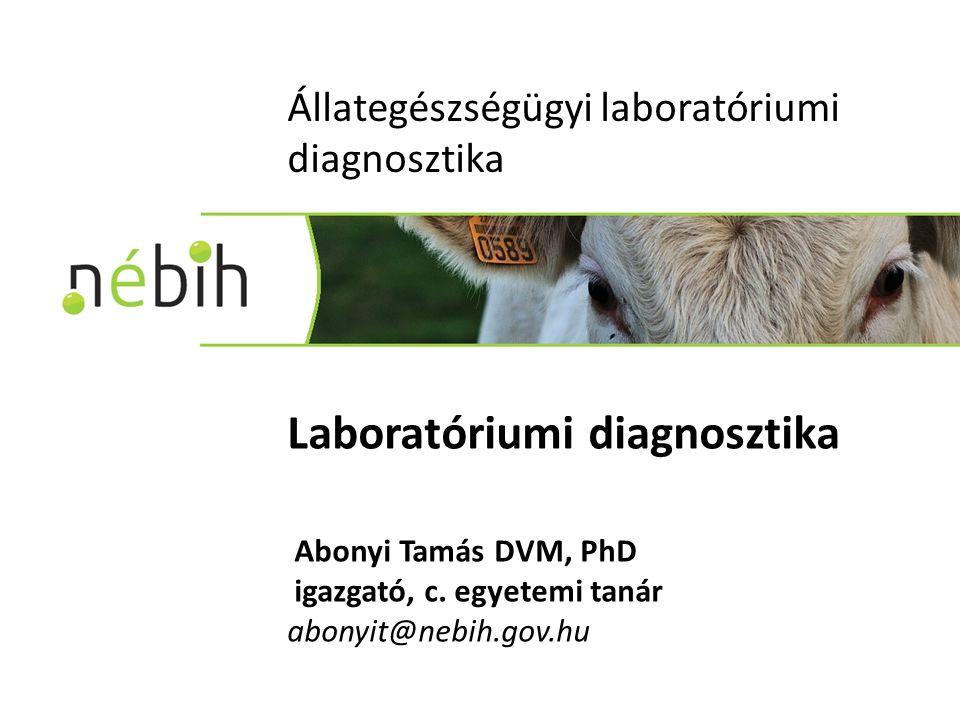 Állategészségügyi laboratóriumi diagnosztika Laboratóriumi diagnosztika Abonyi Tamás DVM, PhD igazgató, c.