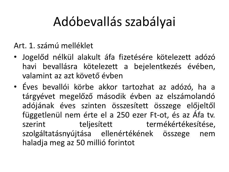 Adóbevallás szabályai Art. 1.