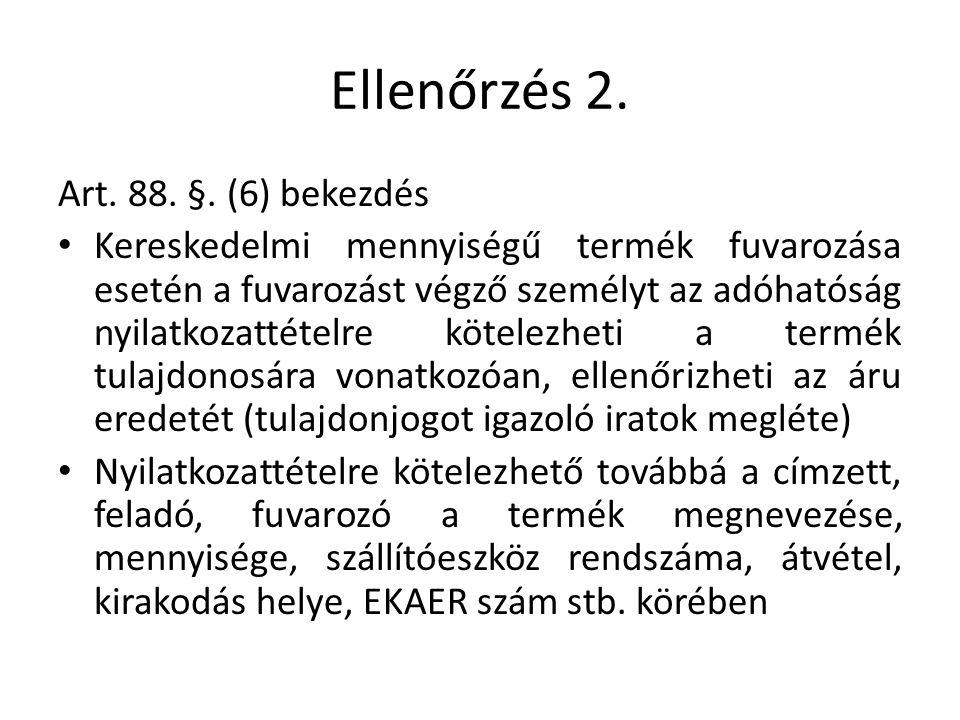 Ellenőrzés 2. Art. 88. §.