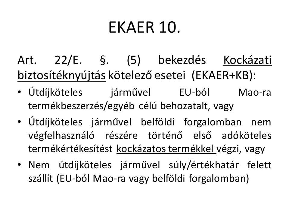 EKAER 10. Art. 22/E. §.
