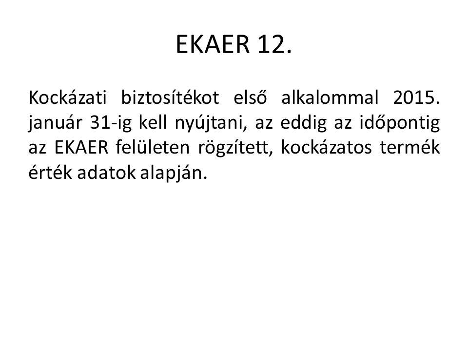 EKAER 12. Kockázati biztosítékot első alkalommal 2015.