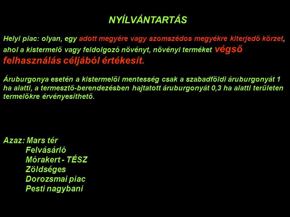 NYÍLVÁNTARTÁS (zöldség-gyümölcs regisztráció) Ügymenet, díj Nyilvántartási űrlap: http://www.mgszh.gov.hu/szakteruletek/szakteruletek/noveny_talajvedelmi _ig/nyomtatvanyok_ntai http://www.mgszh.gov.hu/szakteruletek/szakteruletek/noveny_talajvedelmi _ig/nyomtatvanyok_ntai