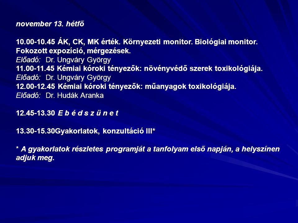 november 13. hétfő 10.00-10.45 ÁK, CK, MK érték. Környezeti monitor.