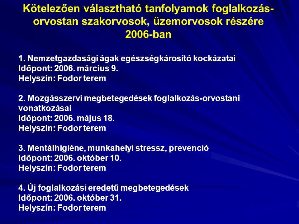 Kötelezően választható tanfolyamok foglalkozás- orvostan szakorvosok, üzemorvosok részére 2006-ban 1.