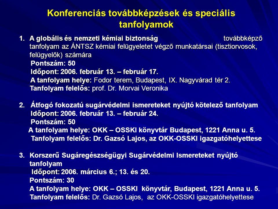 Konferenciás továbbképzések és speciális tanfolyamok 1.A globális és nemzeti kémiai biztonság továbbképző tanfolyam az ÁNTSZ kémiai felügyeletet végző munkatársai (tisztiorvosok, felügyelők) számára Pontszám: 50 Időpont: 2006.