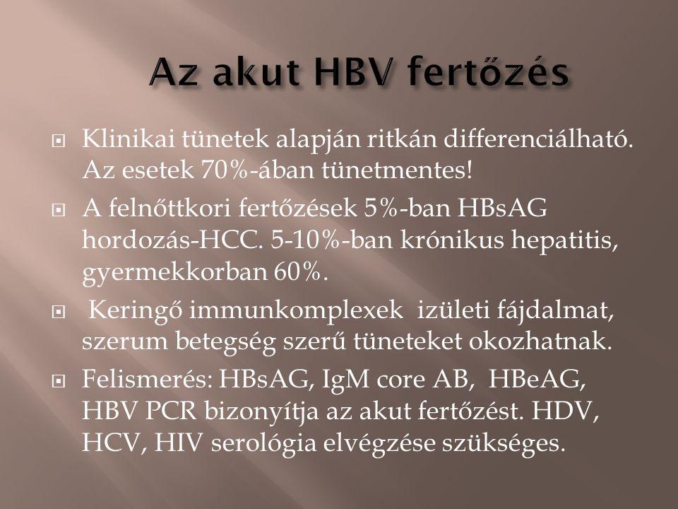 Klinikai tünetek alapján ritkán differenciálható. Az esetek 70%-ában tünetmentes!  A felnőttkori fertőzések 5%-ban HBsAG hordozás-HCC. 5-10%-ban kr