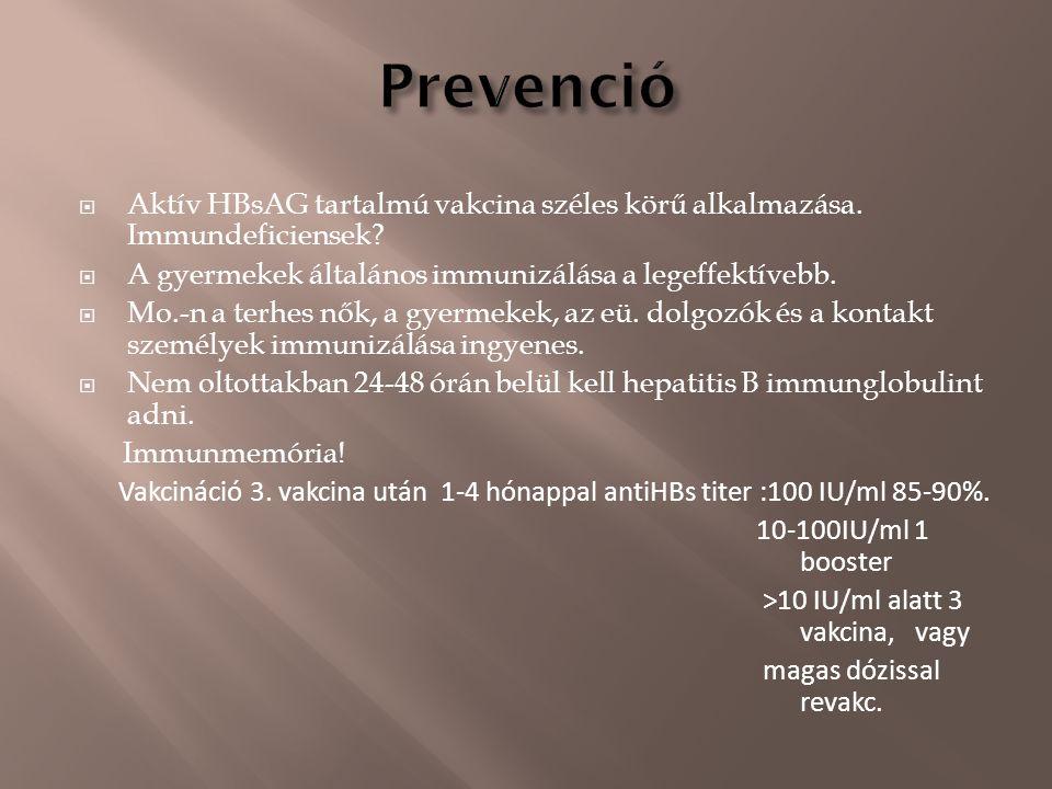  Aktív HBsAG tartalmú vakcina széles körű alkalmazása. Immundeficiensek?  A gyermekek általános immunizálása a legeffektívebb.  Mo.-n a terhes nők,