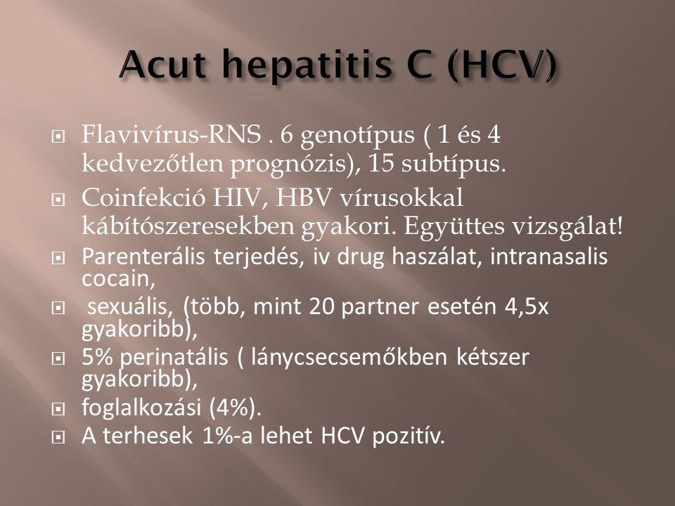  Flavivírus-RNS. 6 genotípus ( 1 és 4 kedvezőtlen prognózis), 15 subtípus.  Coinfekció HIV, HBV vírusokkal kábítószeresekben gyakori. Együttes vizsg