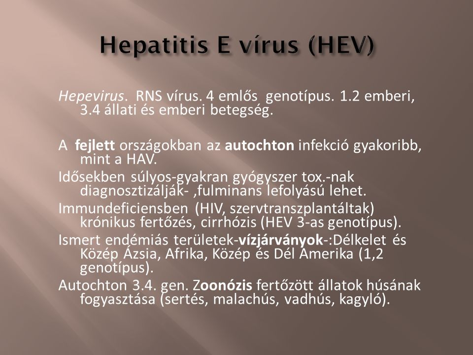 Hepevirus. RNS vírus. 4 emlős genotípus. 1.2 emberi, 3.4 állati és emberi betegség. A fejlett országokban az autochton infekció gyakoribb, mint a HAV.