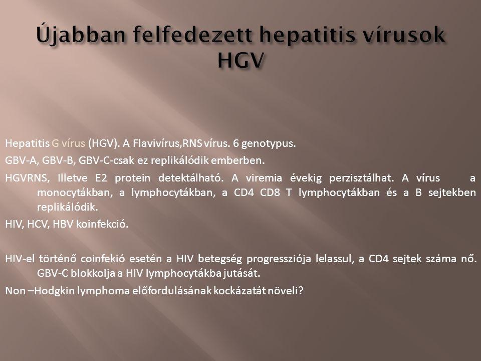 Hepatitis G vírus (HGV). A Flavivírus,RNS vírus. 6 genotypus. GBV-A, GBV-B, GBV-C-csak ez replikálódik emberben. HGVRNS, Illetve E2 protein detektálha