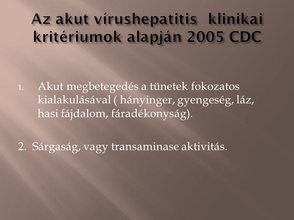 1. Akut megbetegedés a tünetek fokozatos kialakulásával ( hányinger, gyengeség, láz, hasi fájdalom, fáradékonyság). 2. Sárgaság, vagy transaminase akt