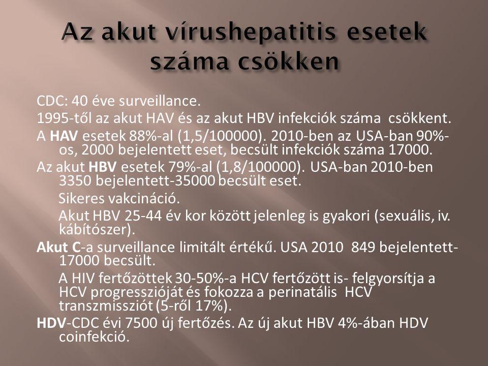 CDC: 40 éve surveillance. 1995-től az akut HAV és az akut HBV infekciók száma csökkent. A HAV esetek 88%-al (1,5/100000). 2010-ben az USA-ban 90%- os,
