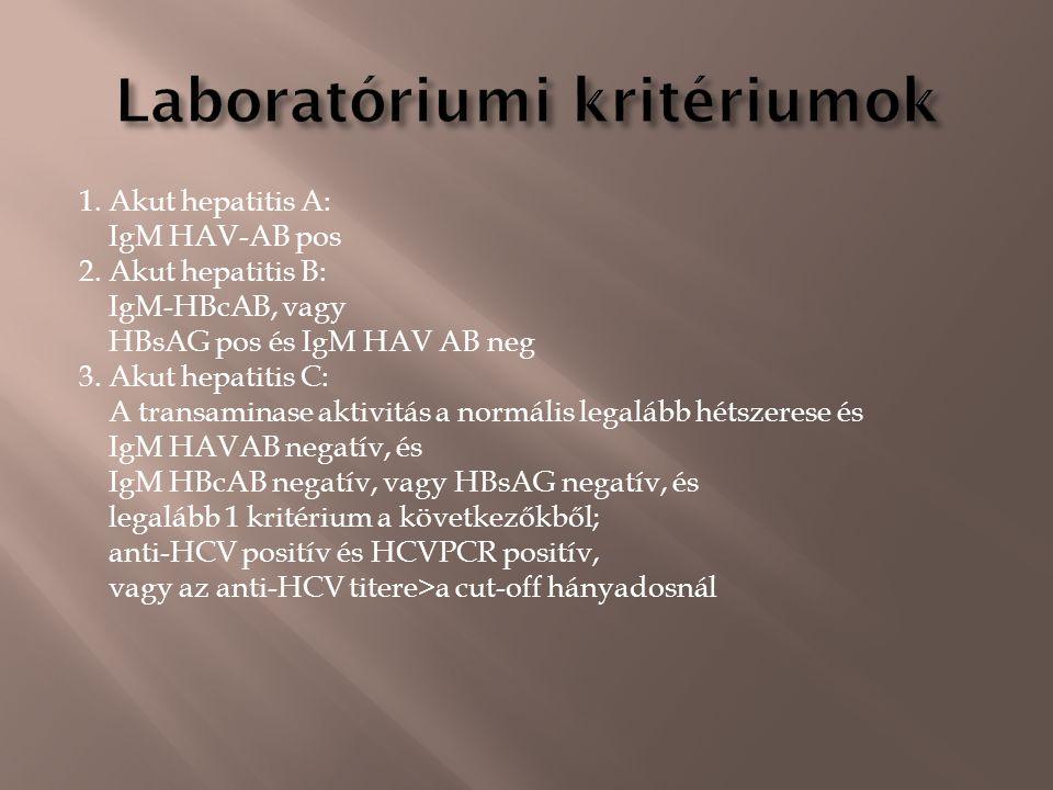 1. Akut hepatitis A: IgM HAV-AB pos 2.