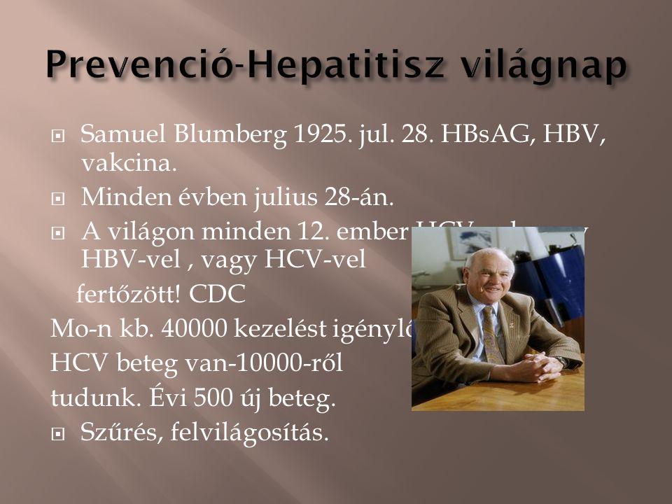  Samuel Blumberg 1925. jul. 28. HBsAG, HBV, vakcina.  Minden évben julius 28-án.  A világon minden 12. ember HCV-vel, vagy HBV-vel, vagy HCV-vel fe