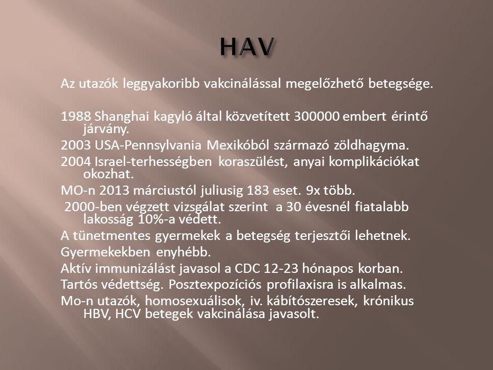 Az utazók leggyakoribb vakcinálással megelőzhető betegsége. 1988 Shanghai kagyló által közvetített 300000 embert érintő járvány. 2003 USA-Pennsylvania