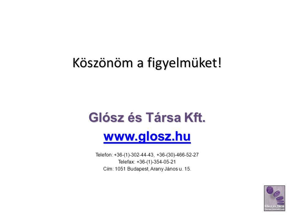 Köszönöm a figyelmüket! Glósz és Társa Kft. www.glosz.hu Telefon: +36-(1)-302-44-43, +36-(30)-466-52-27 Telefax: +36-(1)-354-05-21 Cím: 1051 Budapest,