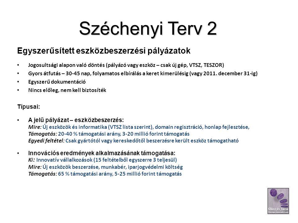 Széchenyi Terv 2 Egyszerűsített eszközbeszerzési pályázatok Jogosultsági alapon való döntés (pályázó vagy eszköz – csak új gép, VTSZ, TESZOR) Gyors át