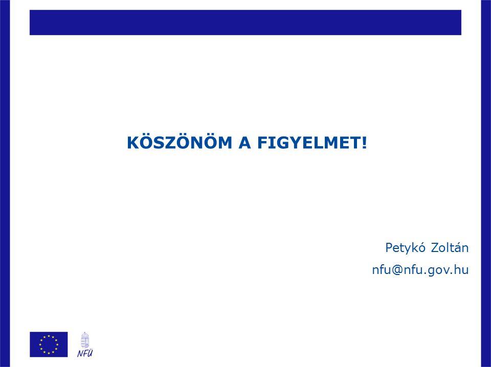 KÖSZÖNÖM A FIGYELMET! Petykó Zoltán nfu@nfu.gov.hu