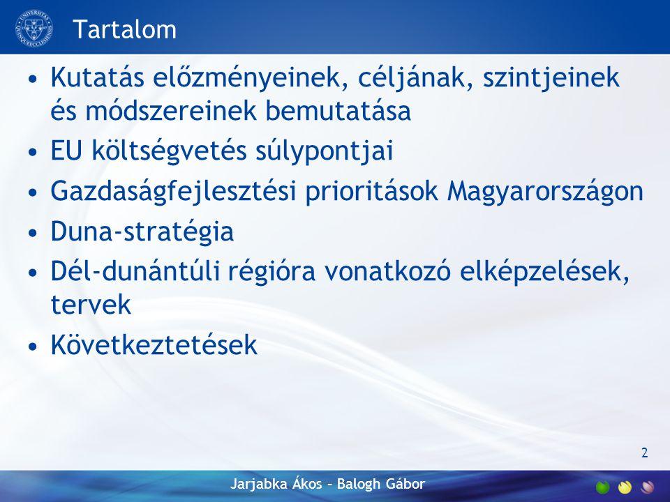 Tartalom Kutatás előzményeinek, céljának, szintjeinek és módszereinek bemutatása EU költségvetés súlypontjai Gazdaságfejlesztési prioritások Magyarországon Duna-stratégia Dél-dunántúli régióra vonatkozó elképzelések, tervek Következtetések 2 Jarjabka Ákos – Balogh Gábor