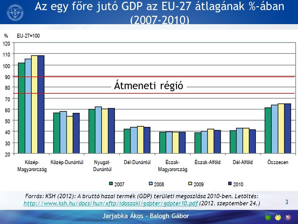 Az egy főre jutó GDP az EU-27 átlagának %-ában (2007-2010) 3 Forrás: KSH (2012): A bruttó hazai termék (GDP) területi megoszlása 2010-ben.