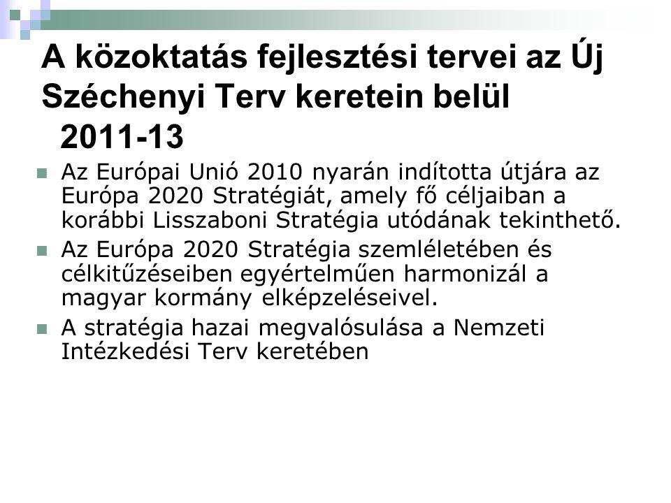 A közoktatás fejlesztési tervei az Új Széchenyi Terv keretein belül 2011-13 Az Európai Unió 2010 nyarán indította útjára az Európa 2020 Stratégiát, am