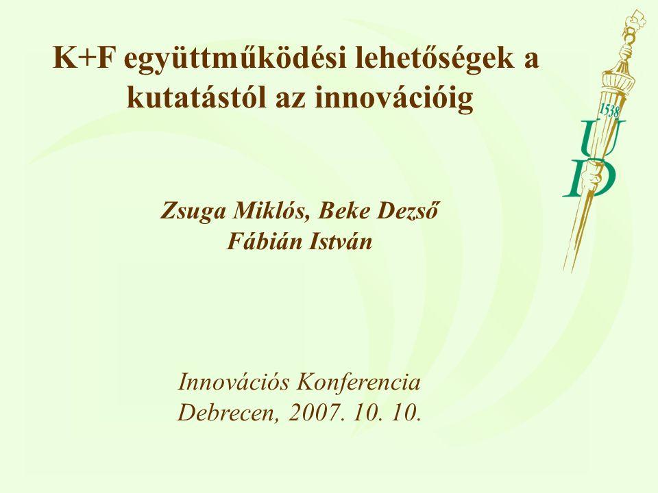 K+F együttműködési lehetőségek a kutatástól az innovációig Zsuga Miklós, Beke Dezső Fábián István Innovációs Konferencia Debrecen, 2007.