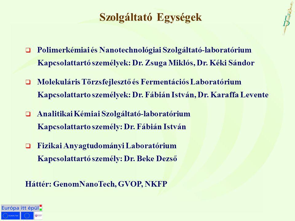 Szolgáltató Egységek  Polimerkémiai és Nanotechnológiai Szolgáltató-laboratórium Kapcsolattartó személyek: Dr.