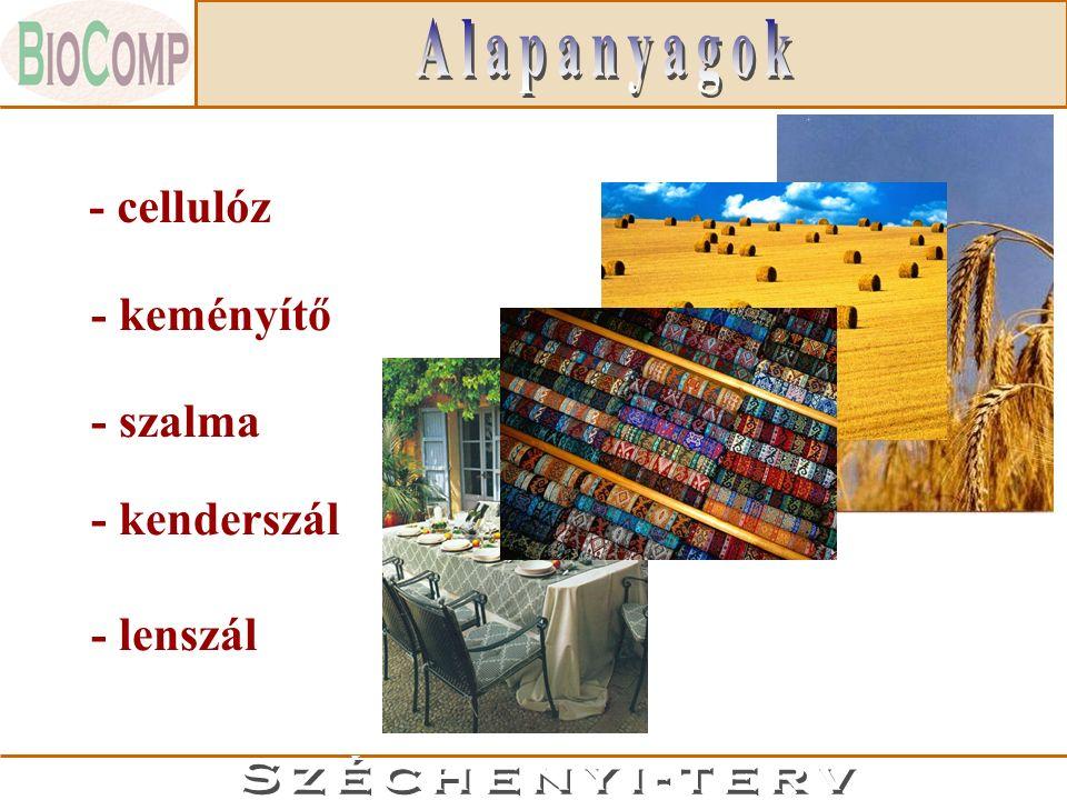 -megújuló, természetes nyersanyagbázis -környezetbarát, biológiailag lebontható termékek -formaldehidmentes, fahelyettesítő anyagok