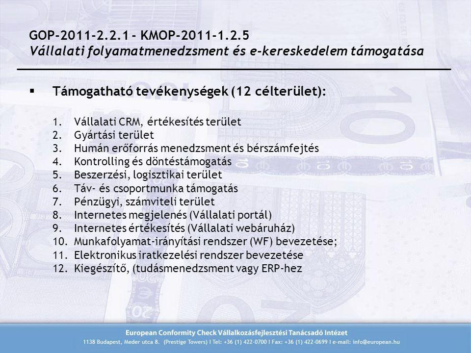  Támogatható tevékenységek (12 célterület): 1.Vállalati CRM, értékesítés terület 2.Gyártási terület 3.Humán erőforrás menedzsment és bérszámfejtés 4.Kontrolling és döntéstámogatás 5.Beszerzési, logisztikai terület 6.Táv- és csoportmunka támogatás 7.Pénzügyi, számviteli terület 8.Internetes megjelenés (Vállalati portál) 9.Internetes értékesítés (Vállalati webáruház) 10.Munkafolyamat-irányítási rendszer (WF) bevezetése; 11.Elektronikus iratkezelési rendszer bevezetése 12.Kiegészítő, (tudásmenedzsment vagy ERP-hez GOP-2011-2.2.1 - KMOP-2011-1.2.5 Vállalati folyamatmenedzsment és e-kereskedelem támogatása
