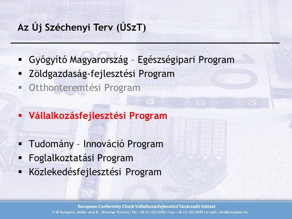  Gyógyító Magyarország – Egészségipari Program  Zöldgazdaság-fejlesztési Program  Otthonteremtési Program  Vállalkozásfejlesztési Program  Tudomány – Innováció Program  Foglalkoztatási Program  Közlekedésfejlesztési Program Az Új Széchenyi Terv (ÚSzT)