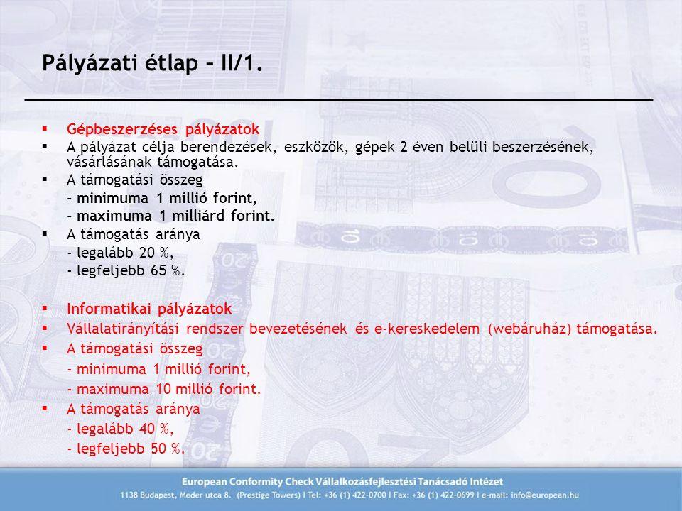 Pályázati étlap – II/1.