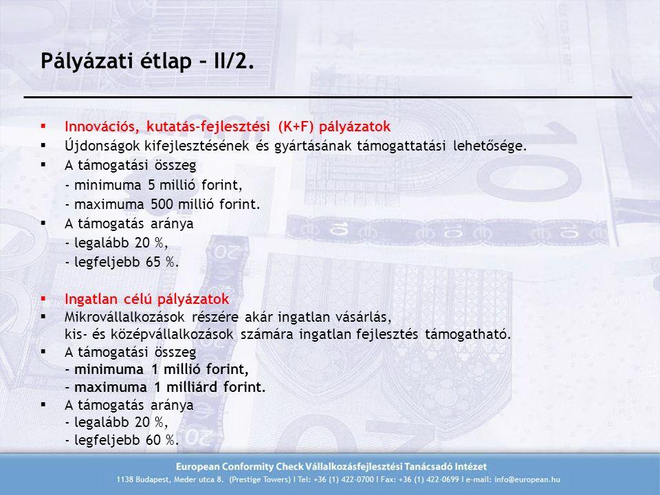 Pályázati étlap – II/2.