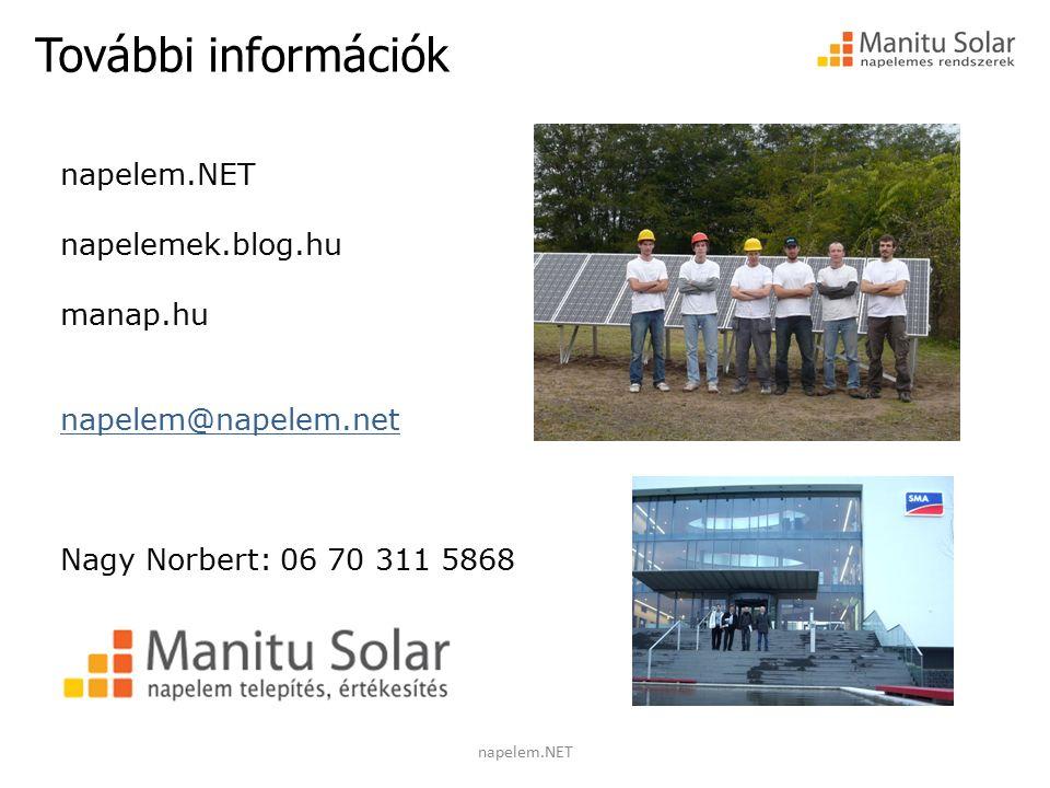 További információk napelem.NET napelemek.blog.hu manap.hu napelem@napelem.net Nagy Norbert: 06 70 311 5868 napelem.NET