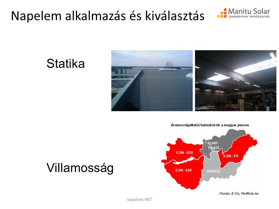 Statika Villamosság Napelem alkalmazás és kiválasztás napelem.NET