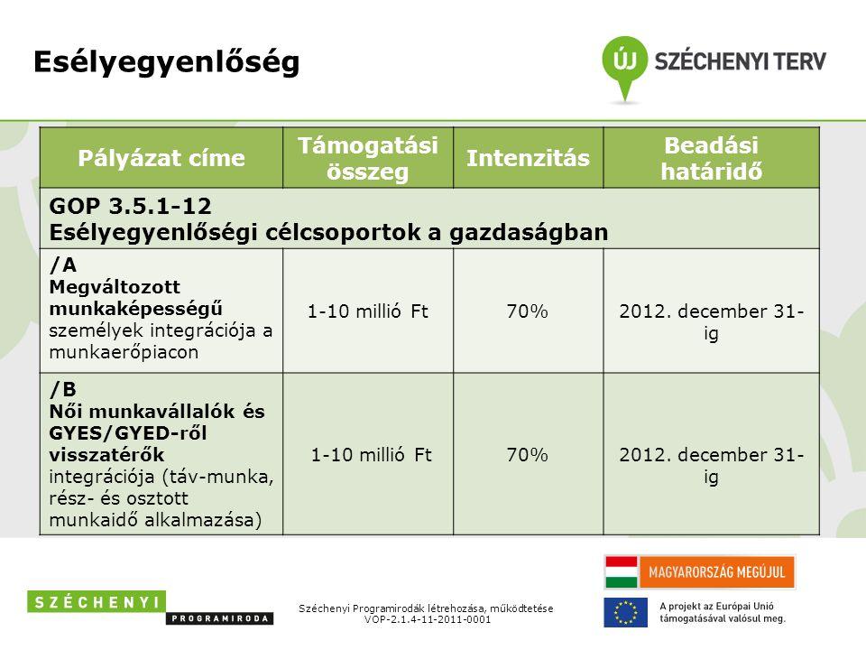 Esélyegyenlőség Pályázat címe Támogatási összeg Intenzitás Beadási határidő GOP 3.5.1-12 Esélyegyenlőségi célcsoportok a gazdaságban /A Megváltozott munkaképességű személyek integrációja a munkaerőpiacon 1-10 millió Ft70%2012.